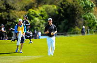 Dan Hillier (NZ) gives the thumbs up walking down the 7th fairway on day one of the 2017 Asia-Pacific Amateur Championship day one at Royal Wellington Golf Club in Wellington, New Zealand on Thursday, 26 October 2017. Photo: Dave Lintott / lintottphoto.co.nz