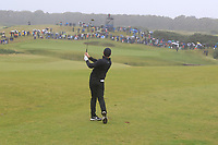 Rory McIlroy (NIR) on the 18th fairway during Round 2 of the Alfred Dunhill Links Championship 2019 at Kingbarns Golf CLub, Fife, Scotland. 27/09/2019.<br /> Picture Thos Caffrey / Golffile.ie<br /> <br /> All photo usage must carry mandatory copyright credit (© Golffile | Thos Caffrey)