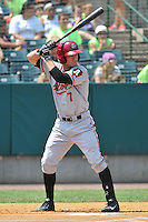 Drew Maggi (7) of the Altoona Curve bats during a game against the New Britain Rocks Cats at New Britain Stadium on July 23, 2014 in New Britain, Connecticut.  Altoona defeated New Britain 8-5. (Gregory Vasil/Four Seam Images)