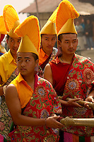 Yellow Hat Buddhist monks during Losar procession at a monastery, Sikkim, India