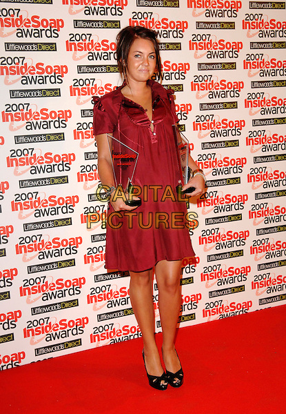 LACEY TURNER.Inside Soap Awards, Gilgamesh, Camden, London, .England, September 24th 2007..full length red maroon burgundy dress awards black peep-toe shoes.CAP/FIN.©Steve Finn/Capital Pictures.