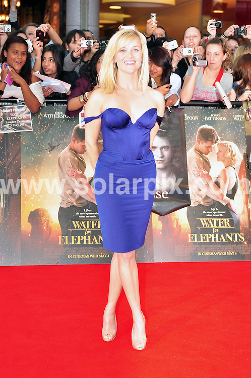 **ALL ROUND PICTURES FROM SOLARPIX.COM**                                             **WORLDWIDE SYNDICATION RIGHTS**                                                                                  Caption: The UK premiere of the new movie, Water for Elephants, held at the Vue Westfield in London, UK. 3 May 2011.This pic: Reese Witherspoon                                                                                                                                                                 JOB REF: 13257 MZF       DATE: 03_05_2011                                                            **MUST CREDIT SOLARPIX.COM OR DOUBLE FEE WILL BE CHARGED**                                                                      **MUST AGREE FEE BEFORE ONLINE USAGE**                               **CALL US ON: +34 952 811 768 or LOW RATE FROM UK 0844 617 7637**