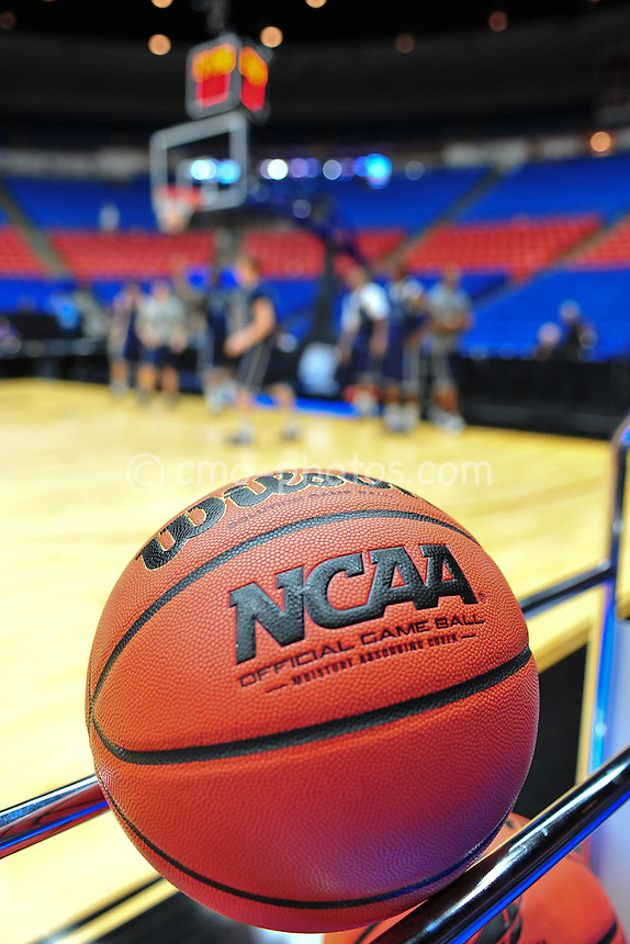 Mar 16, 2011; Tucson, AZ, USA; An official game ball sits on a rack during practice the day before the second round of the 2011 NCAA men's basketball tournament at the McKale Center.