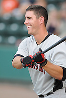 Infielder Andrew Clark (8) of the Hickory Crawdads, Class A affiliate of the Texas Rangers, prior to a game against the Greenville Drive on July 1, 2011, at Fluor Field at the West End in Greenville, South Carolina. (Tom Priddy/Four Seam Images)