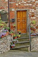 Doorway and flowers, Lucignano, Tuscany, Italy