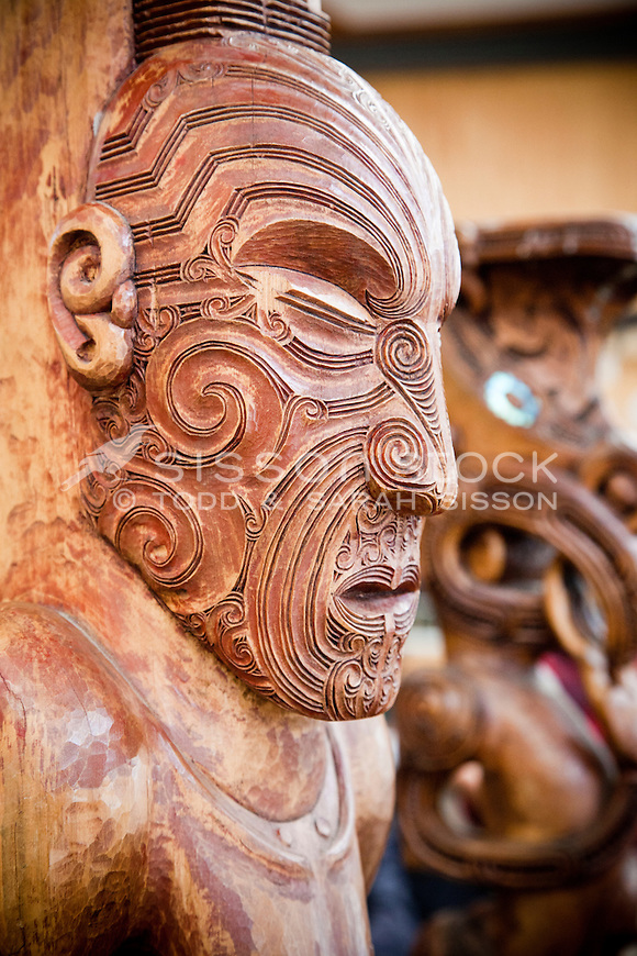 Traditional Maori Carving, Te Puia, Rotorua, New Zealand - stock photo, canvas, fine art print