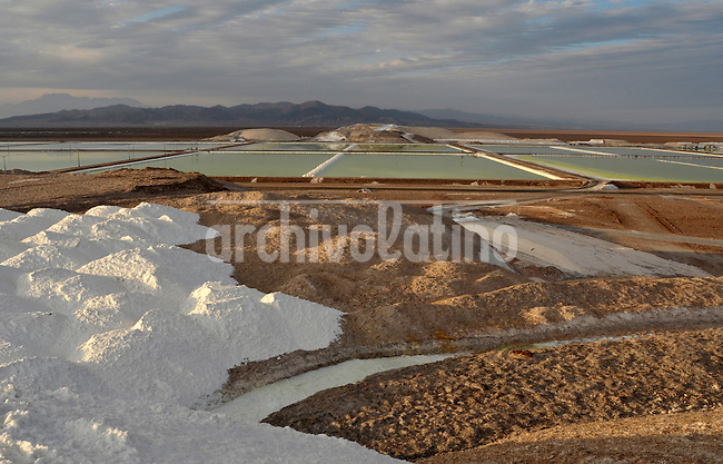 Ponds at the Salar de Atacama where SQM extracts from salt different minerals, among them lithium and potasium and sodium.