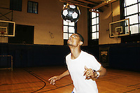 Gerson Conou practices for the United States Homeless World Cup team in New York City on July 18, 2004.
