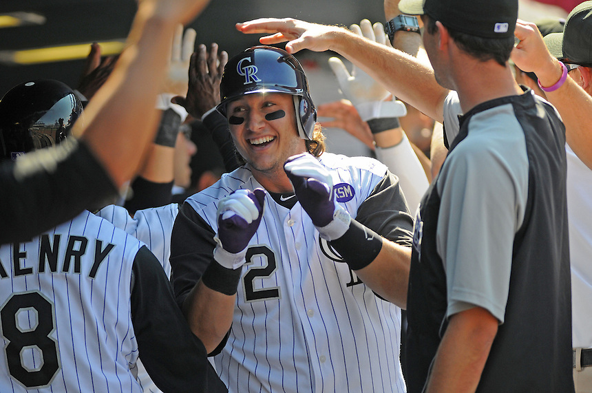 15 SEPTEMBER 2010: Colorado Rockies shortstop Troy Tulowitzki (2) and teammates celebrate Tulowitzki's 2nd 3-run homerun of the afternoon during a regular season Major League Baseball game between the Colorado Rockies and the San Diego Padres at Coors Field in Denver, Colorado.   *****For Editorial Use Only*****