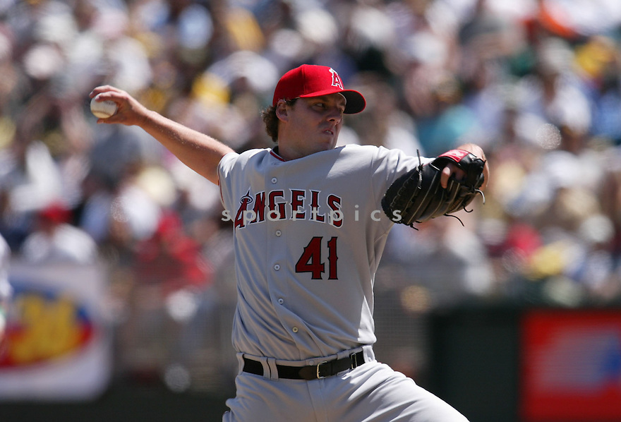 John Lackey in action during the Los Angeles Angels v. Oakland Athletics game April 16, 2005.....Los Angeles Angels lost 0-1.....Rob Holt/ SportPics
