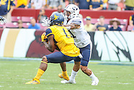 Landover, MD - September 23, 2016: West Virginia Mountaineers wide receiver Shelton Gibson (1)catches a pass during game between BYU and WVA at  FedEx Field in Landover, MD.  (Photo by Elliott Brown/Media Images International)