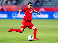 CARSON, CA - FEBRUARY 07: Christine Sinclair #12 of Canada crosses the ball during a game between Canada and Costa Rica at Dignity Health Sports Park on February 07, 2020 in Carson, California.