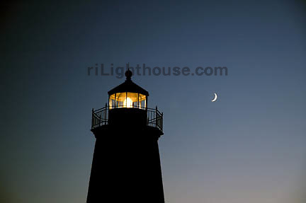 A nighttime capture of Point Judith Lighthouse