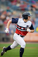 Syracuse Chiefs left fielder Andrew Stevenson (2) runs to first base during a game against the Scranton/Wilkes-Barre RailRiders on June 14, 2018 at NBT Bank Stadium in Syracuse, New York.  Scranton/Wilkes-Barre defeated Syracuse 9-5.  (Mike Janes/Four Seam Images)