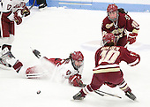 Kalley Armstrong (Harvard - 13), Ashley Motherwell (BC - 18), Blake Bolden (BC - 10) - The Boston College Eagles defeated the Harvard University Crimson 4-2 in the 2012 Beanpot consolation game on Tuesday, February 7, 2012, at Walter Brown Arena in Boston, Massachusetts.