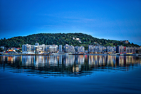 Reflections on Oslo fjord, Norway.