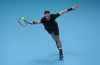 Andy Murray (GBR)(1) in action against Milos Raonic (CAN)(4)) in their Semi-Final match during Day Seven of the Barclays ATP World Tour Finals 2016 played at The O2 Arena, London on November 19th  2016