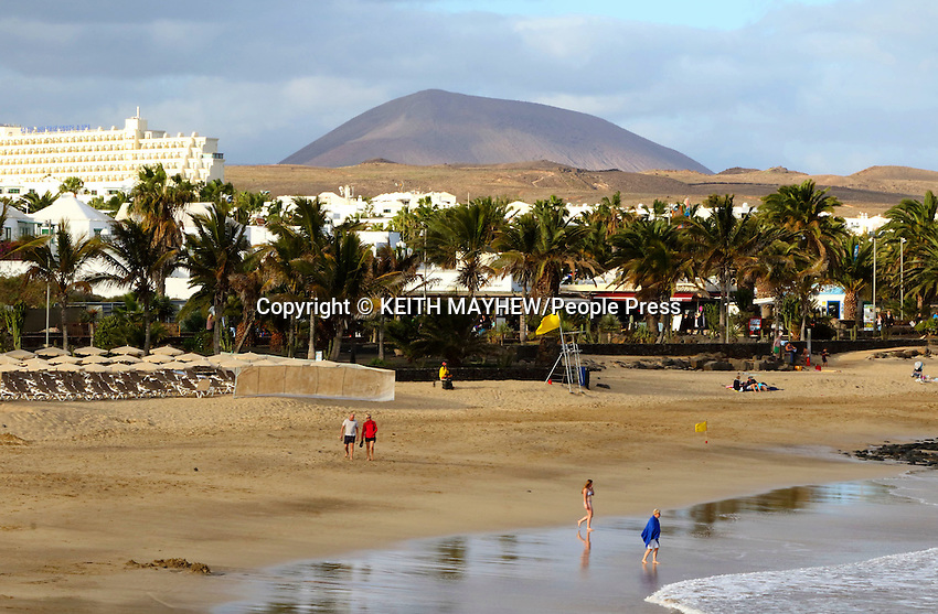 LANZAROTE, CANARY ISLANDS -  Las Cucharas beach in Costa Teguise during January 2016 in Lanzarote, Canary Islands<br /> <br /> Photo by Keith Mayhew