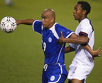 Cory Gibbs battles for a ball in San Salvador, El Salvador, Saturday Oct. 9, 2004. USA won 2-0.