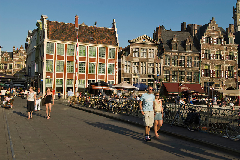 Belgium, Ghent, Bridge over Graslei Canal