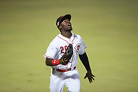 Scottsdale Scorpions left fielder Taylor Trammell (26), of the Cincinnati Reds organization, tracks a fly ball during an Arizona Fall League game against the Mesa Solar Sox on October 9, 2018 at Scottsdale Stadium in Scottsdale, Arizona. The Solar Sox defeated the Scorpions 4-3. (Zachary Lucy/Four Seam Images)
