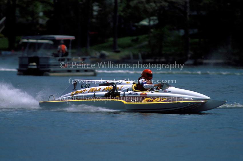 """Steve Drucker, E-87 """"Don't Tell Mom!"""", (1971 Ron Jones 280 class cabover hydroplane) 1997"""