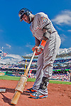 20 September 2015: Miami Marlins outfielder Marcell Ozuna prepares his bat in the on-deck circle during a game against the Washington Nationals at Nationals Park in Washington, DC. The Marlins fell to the Nationals 13-3 in the final game of their 4-game series. Mandatory Credit: Ed Wolfstein Photo *** RAW (NEF) Image File Available ***