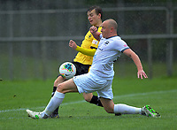 Wellington Phoenix's Adam Hewson and United's Bill Robertson compete for the ball during the ISPS Handa Premiership football match between Wellington Phoenix Reserves and Hawkes Bay United at Porirua Park in Wellington, New Zealand on Sunday, 10 November 2019. Photo: Dave Lintott / lintottphoto.co.nz