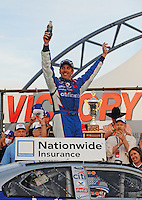 Feb. 28, 2009; Las Vegas, NV, USA; NASCAR Nationwide Series driver Greg Biffle celebrates after winning the Sam's Town 300 at Las Vegas Motor Speedway. Mandatory Credit: Mark J. Rebilas-