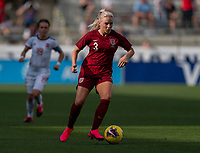 FRISCO, TX - MARCH 11: Alex Greenwood #3 of England dribbles during a game between England and Spain at Toyota Stadium on March 11, 2020 in Frisco, Texas.