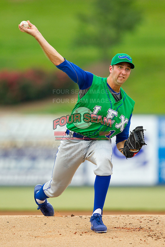 Lexington Legends starting pitcher Greg Billo (14) in action against the Kannapolis Intimidators at CMC-Northeast Stadium on July 30, 2013 in Kannapolis, North Carolina.  The Legends defeated the Intimidators 1-0.  (Brian Westerholt/Four Seam Images)