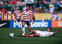Sydney Leroux (11) of the USWNT steps out of the tackle of Daniela Cruz (8) of Costa Rica during a friendly match at Sahlen's Stadium in Rochester, NY.  The USWNT defeated Costa Rica, 8-0.