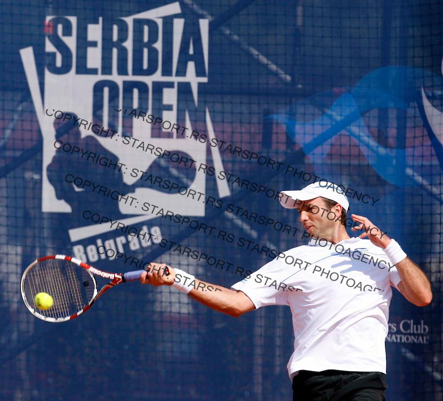 "Kazahtans Yuri Schukin returns the ball during ATP 250 series tennis tournament ""Serbia Open"" in Belgrade, Serbia, Saturday, April 23. 2011. (credit image & photo: Pedja Milosavljevic / thepedja@gmail.com / +381641260959)"