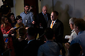 United States Representative Lee Zeldin (Republican of New York) speaks to the press during a closed-door hearing with the State Department's former special envoy to Ukraine Kurt Volker on Capitol Hill on October 3, 2019.<br /> <br /> Credit: Stefani Reynolds / CNP