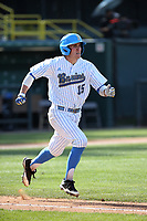 Will McInerny (15) of the UCLA Bruins runs to first base during a game against the Arizona Wildcats at Jackie Robinson Stadium on March 19, 2017 in Los Angeles, California. UCLA defeated Arizona, 8-7. (Larry Goren/Four Seam Images)