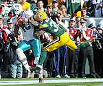 Miami Dolphins receiver Brandon Marshall, left, is ruled out of bounds in the end zone near Green Bay Packers' Tramon Williams after an official review during the second quarter of the game at Lambeau Field in Green Bay, Wis., on Oct. 17, 2010.