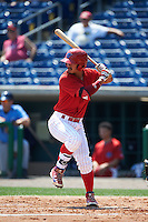 Clearwater Threshers catcher Chace Numata (50) at bat during a game against the Charlotte Stone Crabs on April 13, 2016 at Bright House Field in Clearwater, Florida.  Charlotte defeated Clearwater 1-0.  (Mike Janes/Four Seam Images)