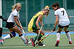 GER - Mannheim, Germany, May 24: During the U16 Girls match between Australia (green) and Germany (white) during the international witsun tournament on May 24, 2015 at Mannheimer HC in Mannheim, Germany. Final score 0-6 (0-3). (Photo by Dirk Markgraf / www.265-images.com) *** Local caption *** Emily Kerner #17 of Germany, Alice Arnott #6 of Australia, Emma Foerter #7 of Germany