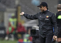 Calcio, Serie A: AC Milan - AS Roma, Milano stadio Giuseppe Meazza (San Siro) 31 agosto 2018. <br /> AS Roma's coach Eusebio Di Francesco gestures during the Italian Serie A football match between Milan and Roma at Giuseppe Meazza stadium, August 31, 2018. <br /> UPDATE IMAGES PRESS/Isabella Bonotto