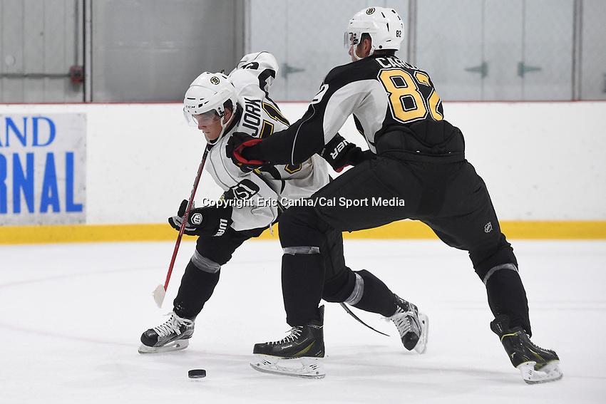 July 15, 2015 - Wilmington, Massachusetts, U.S. - Forward Anders Bjork (51) and defenseman Brandon Carlo (82) take part in the Boston Bruins development camp held at Ristuccia Arena in Wilmington Massachusetts. Eric Canha/CSM
