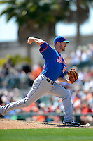 New York Mets pitcher Jeremy Hefner #53 during a Spring Training game against the Baltimore Orioles at Ed Smith Stadium on March 30, 2013 in Sarasota, Florida.  (Mike Janes/Four Seam Images)