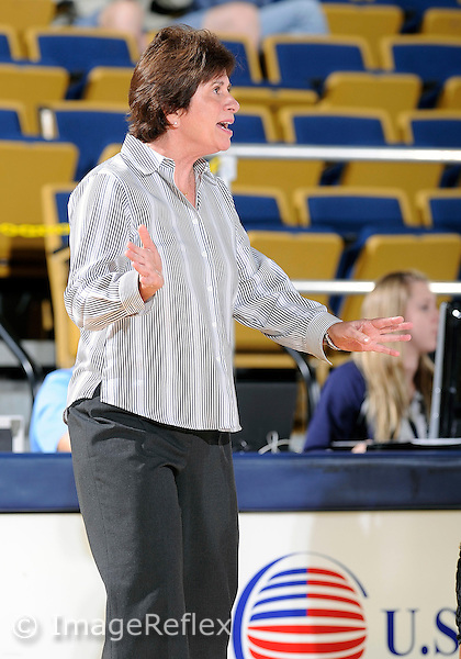 Florida International University Head Coach Cindy Russo during the game against Lynn University.  FIU won the game 68-30 on November 30, 2011 at Miami, Florida. .