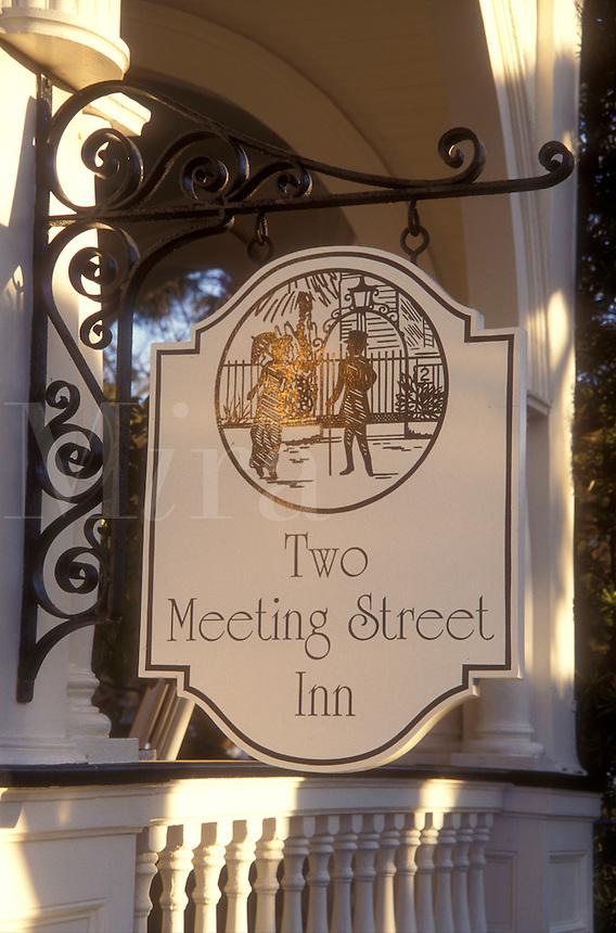 AJ1593, Charleston, Inn, South Carolina, Two Meeting Street Inn sign in Charleston, South Carolina.