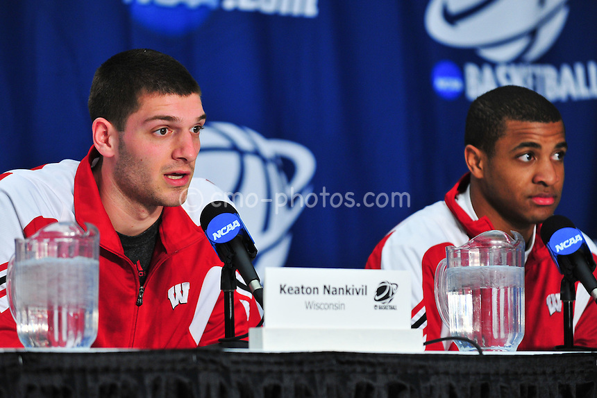 Mar 16, 2011; Tucson, AZ, USA; Wisconsin Badgers forward Keaton Nankivil (left) and guard Jordan Taylor (right) during a press conference on the day before the second round of the 2011 NCAA men's basketball tournament at the McKale Center.