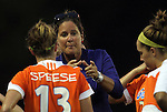 24 August 2012: Florida head coach Becky Burleigh talks to her players during a TV timeout. The University of North Carolina Tar Heels played the University of Florida Gators to a 0-0 overtime tie at Fetzer Field in Chapel Hill, North Carolina in a 2012 NCAA Division I Women's Soccer game.