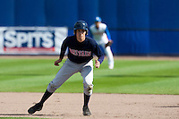 14 September 2009: Jason Holowaty of Great Britain takes a lead during the 2009 Baseball World Cup Group F second round match game won 15-5 by South Korea over Great Britain, in the Dutch city of Amsterdan, Netherlands.