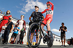 Race leader Chris Froome (GBR) Team Sky waits to start   Stage 16 of the 2017 La Vuelta, an individual time trial running 40.2km from Circuito de Navarra to Logro&ntilde;o, Spain. 5th September 2017.<br /> Picture: Unipublic/&copy;photogomezsport | Cyclefile<br /> <br /> <br /> All photos usage must carry mandatory copyright credit (&copy; Cyclefile | Unipublic/&copy;photogomezsport)