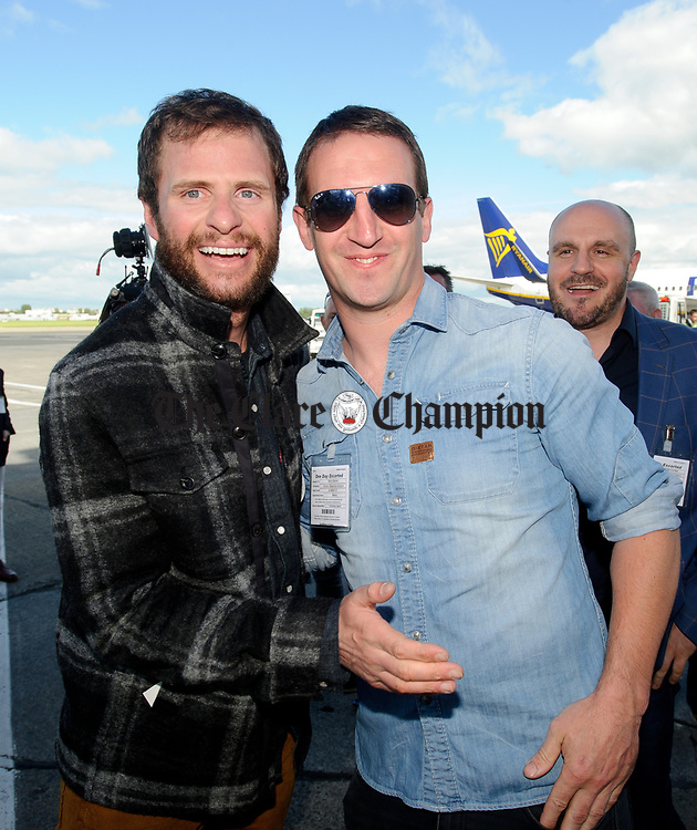John Burke greeting friend  Gerry Quinn on his arrival back to Shannon Airport, following his successful attempt, being the first Clare person ever to climb Mount Everest. Photograph by John Kelly.