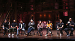 "Robert Walters, Sean Green Jr., Terrance Spencer, Gregory Treco, Gabriella Sorrentino, Sasha Hollinger, Thayne Jasperson and James Monroe Iglehart  during The Rockefeller Foundation and The Gilder Lehrman Institute of American History sponsored High School student #eduHam matinee performance of ""Hamilton"" Q & A at the Richard Rodgers Theatre on November 28, 2018 in New York City."