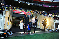 Andrew Durante walks out with his family for his 250th A-League game before the A-League football match between Wellington Phoenix and Western Sydney Wanderers at Westpac Stadium in Wellington, New Zealand on Saturday, 3 November 2018. Photo: Dave Lintott / lintottphoto.co.nz